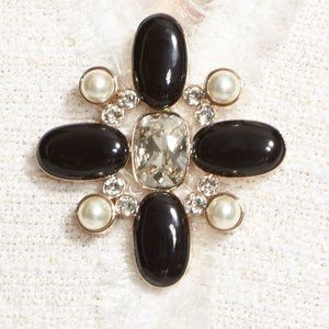 St. John Collection Crystal & Faux Pearl Brooch